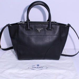 Prada B2861K City Calf Black Leather Tote